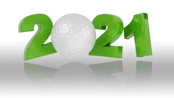 Golf ball 2021 design in Infinite Rotation on a White Background