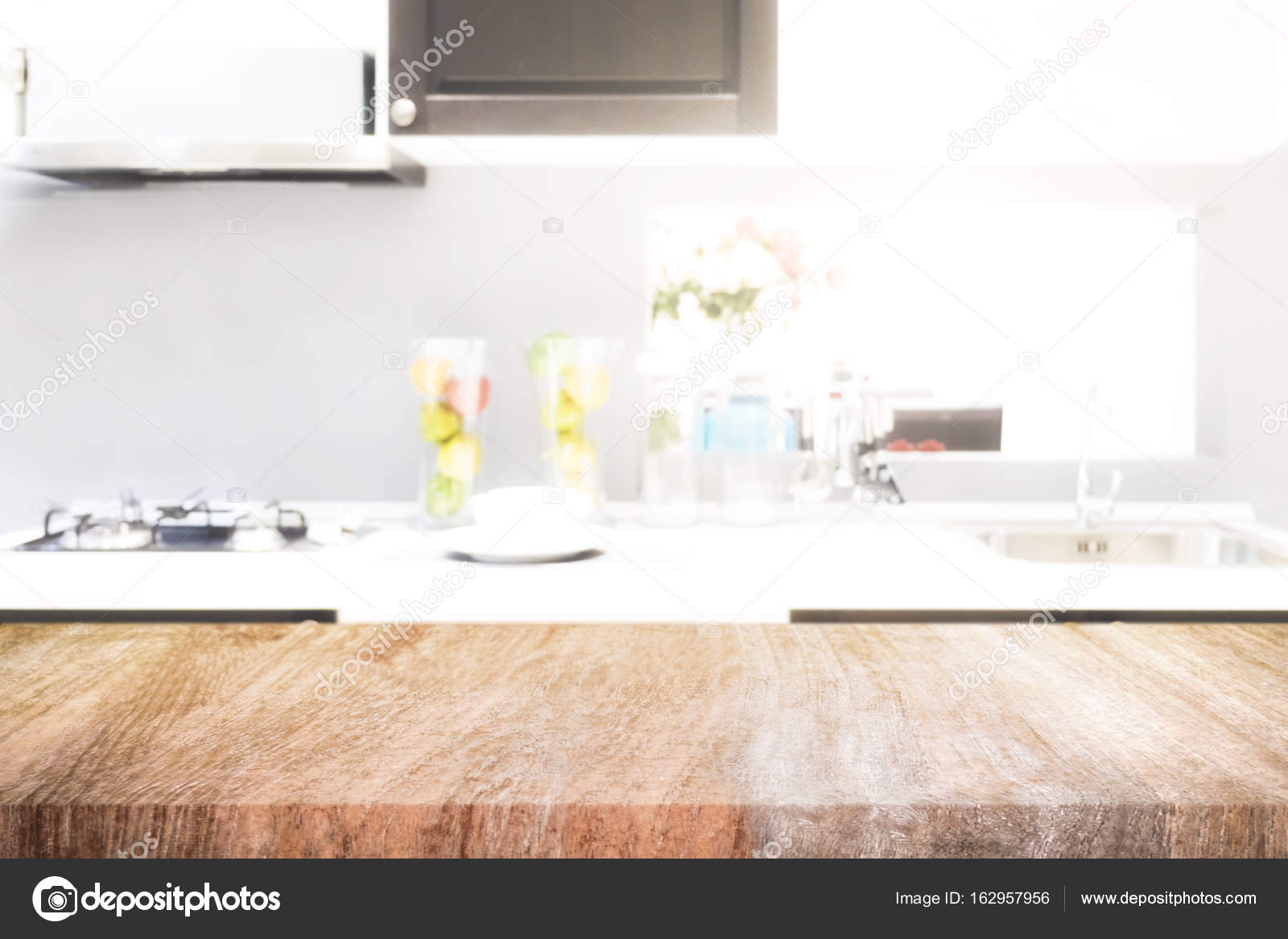 Empty Wooden Table And Blurred Kitchen Background For