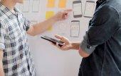 Web Designer Planungsanwendung für Mobiltelefone.