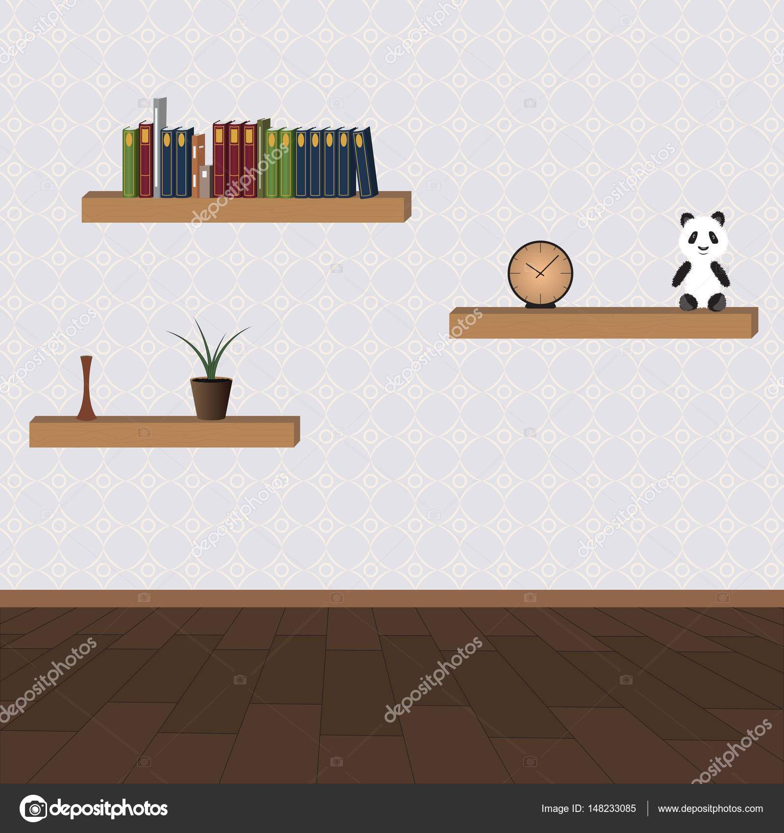 Living room with shelves and home stuff — Stock Vector © artloct ...