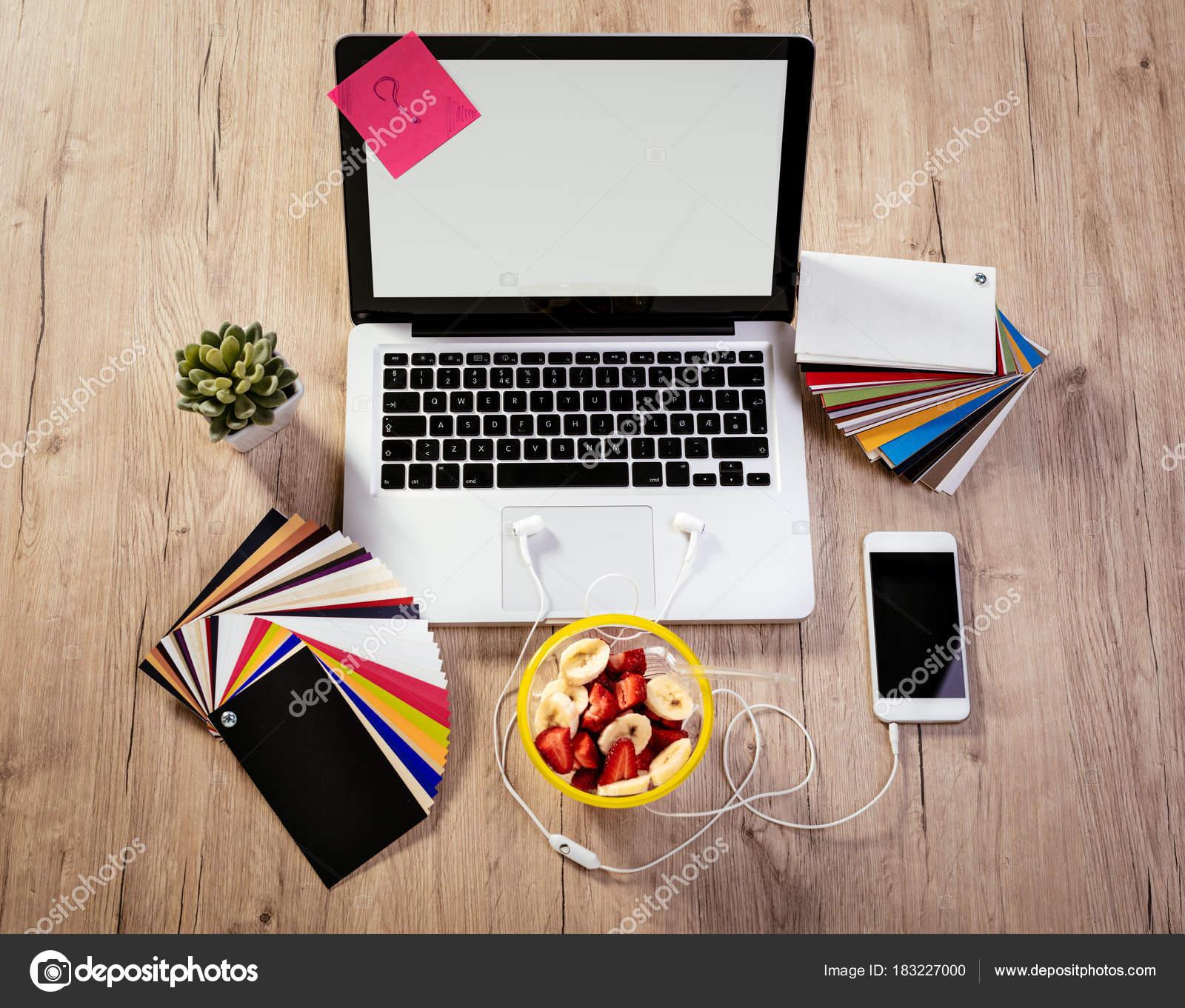 top view designer workspace laptop pallete color different office