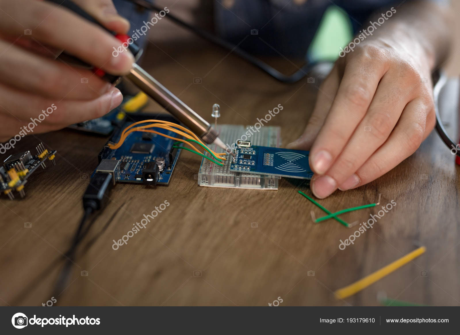 Close View Male Hands Soldering Circuit Board Iron Table On Stock Photo