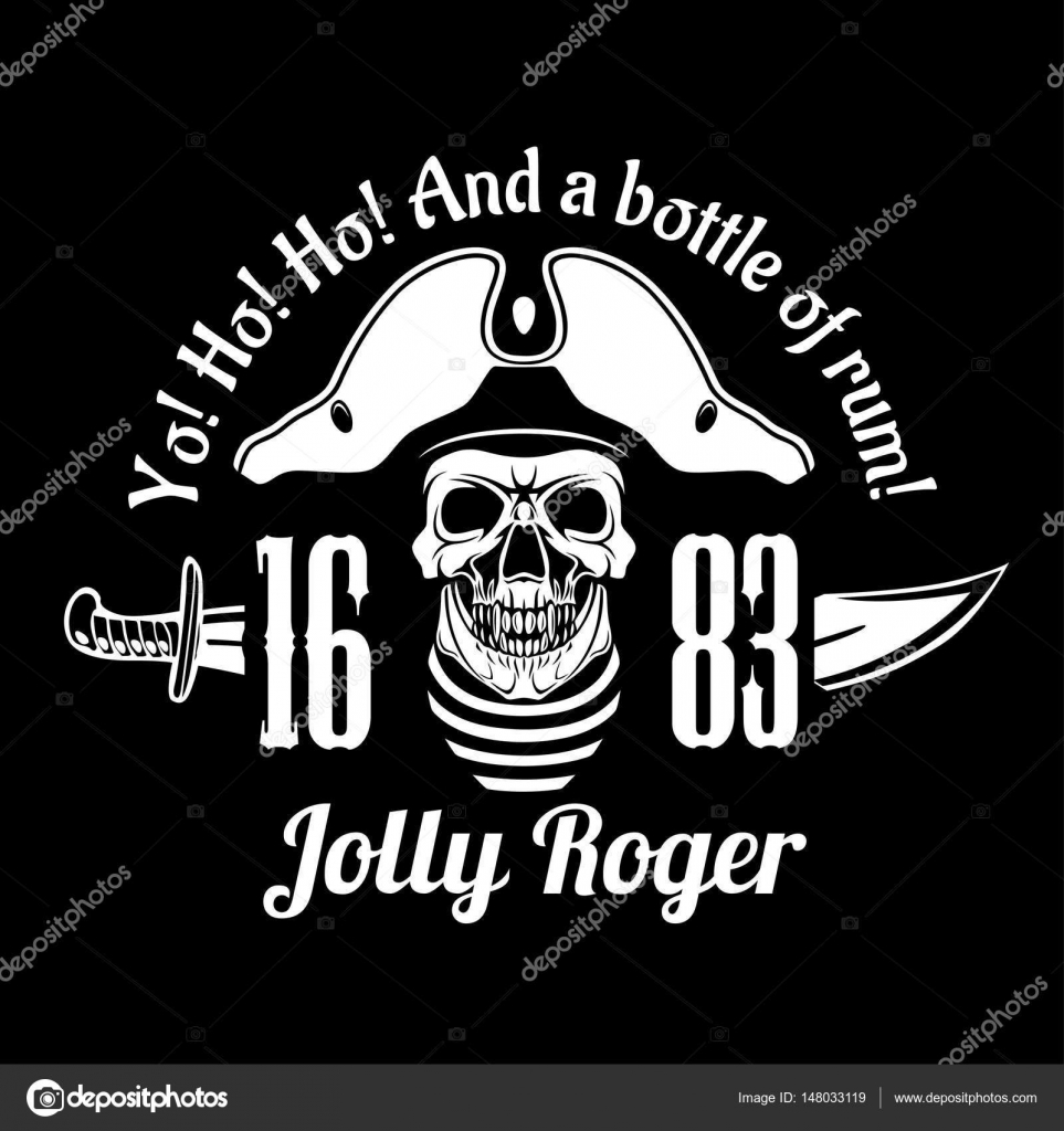 Símbolo de piratas Jolly Roger. Cartel de vector de calavera con ...