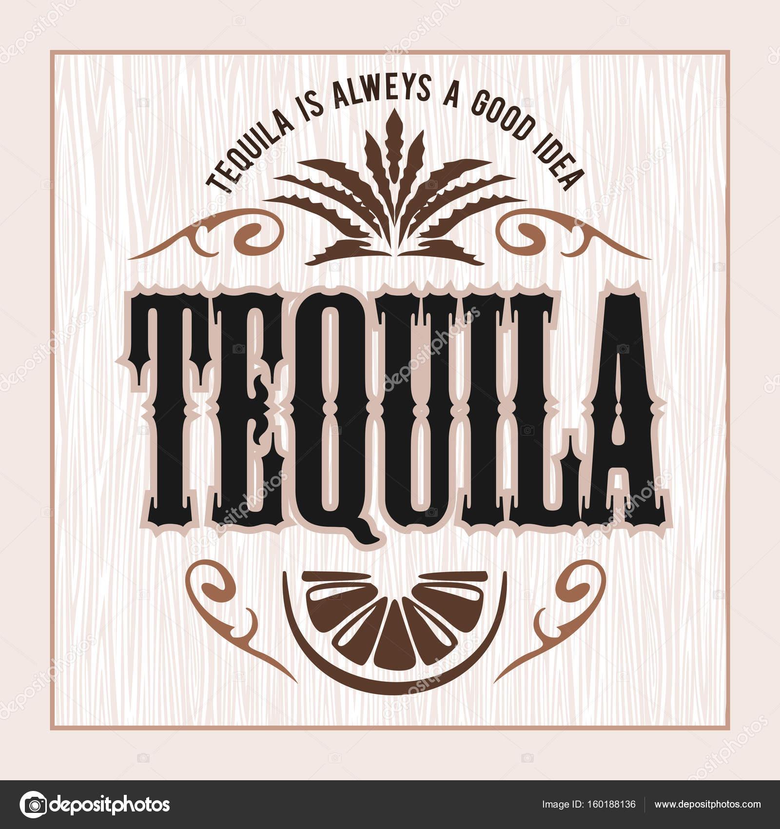 Vintage Alkohol Tequila trinken Vektor Flaschenetikett. Aufkleber ...