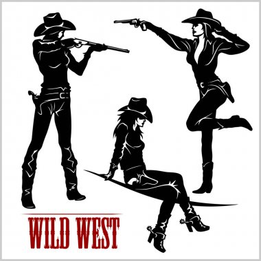 Silhouettes of Western Cowgirls. Vector Illustration
