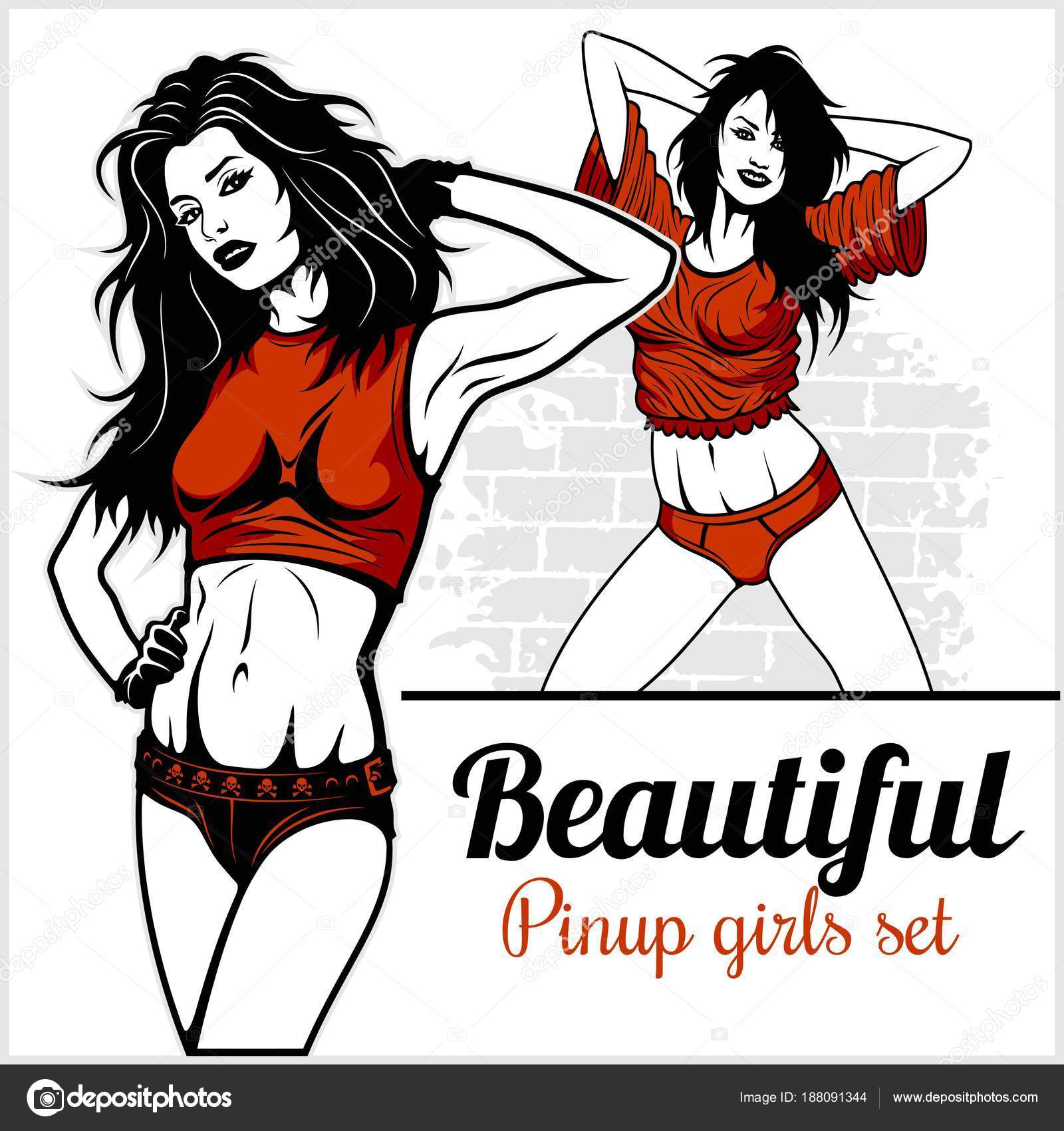 pretty pin up girl on white stock vector digital clipart 188091344
