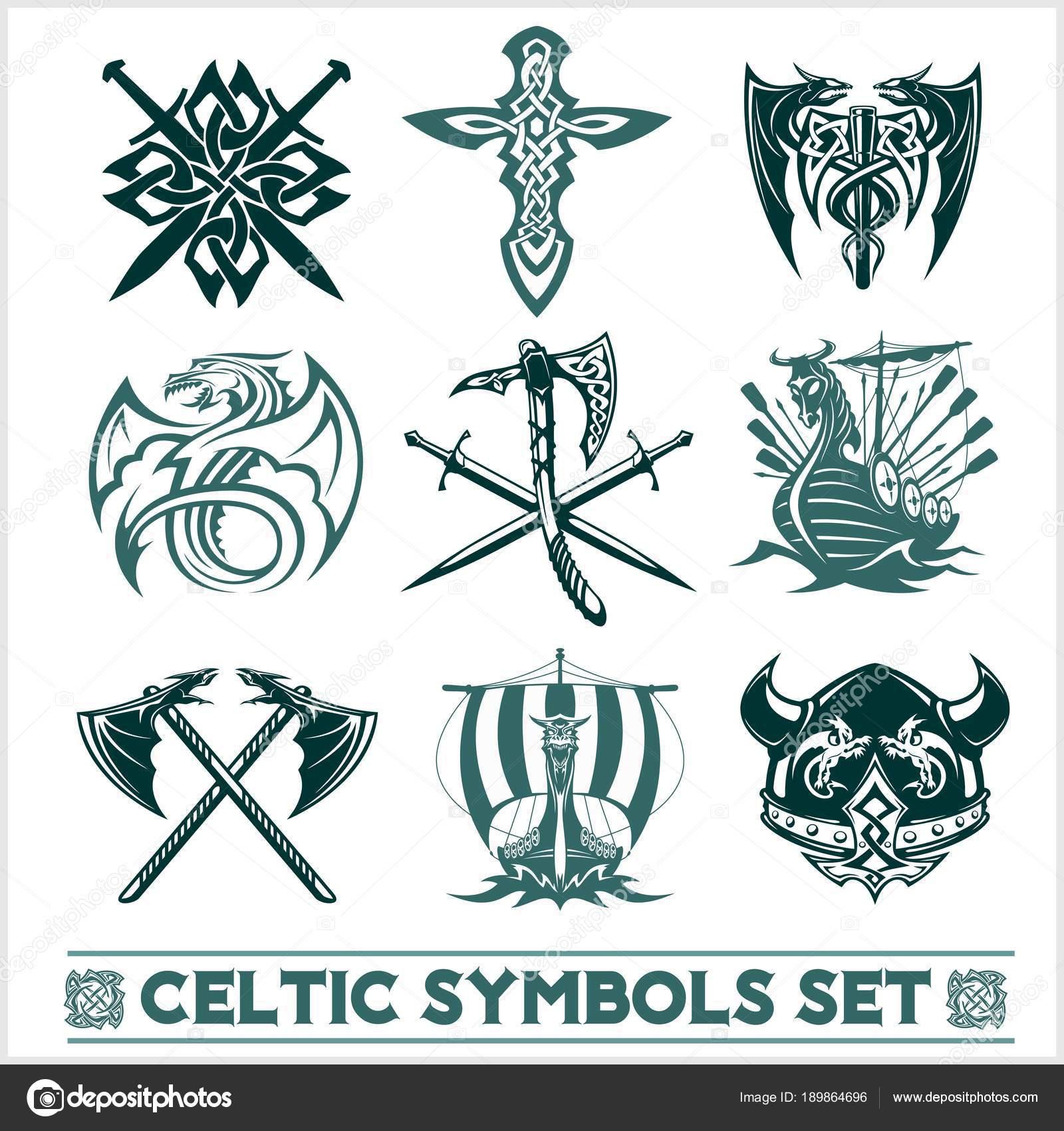 Conjunto De Vectores De Símbolos Celtas Iconos Archivo Imágenes