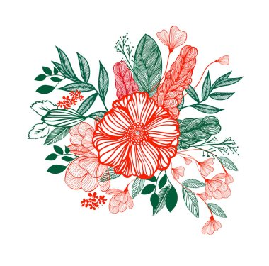 Graphic red and green flower with green leaves. Vector