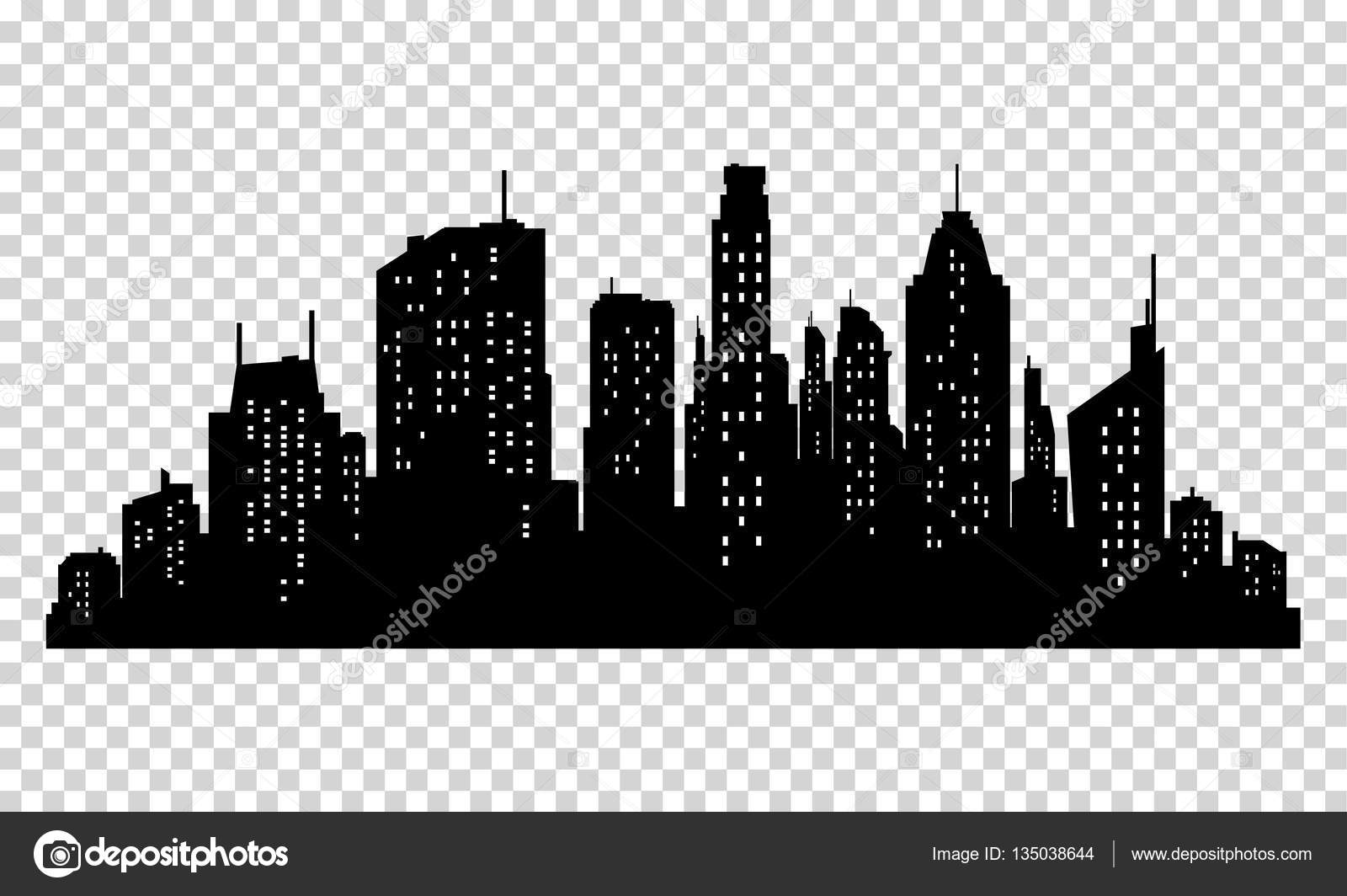 set of vector city silhouette and elements for design stock rh depositphotos com city silhouette vector download london city silhouette vector