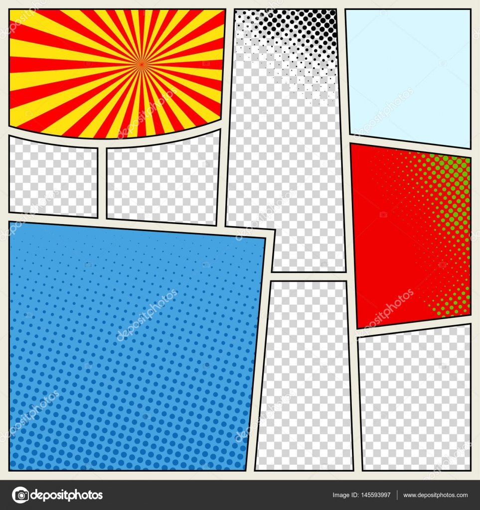 Comics book background in different colors. Blank template ...