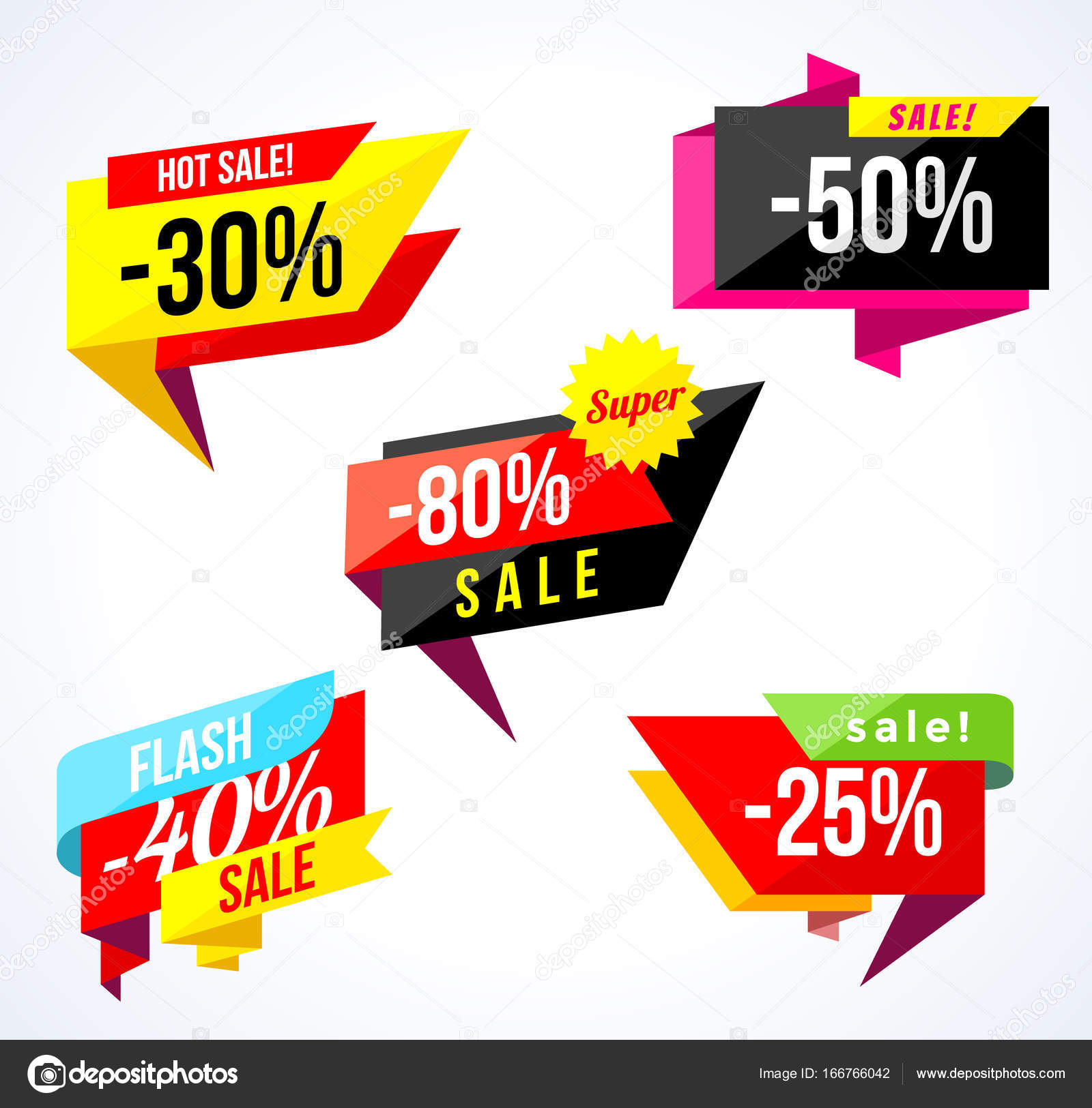 Colored Stickers And Banners Geometric Shapes Confetti Big Set Of Beautiful Discount Promotion Advertising Element Sale Banner Tag