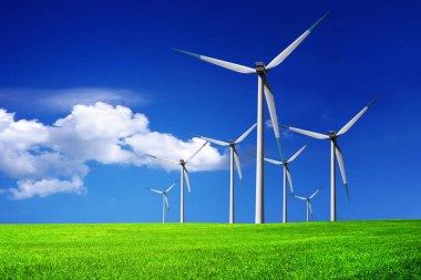 Wind turbines farm green nature stock vector