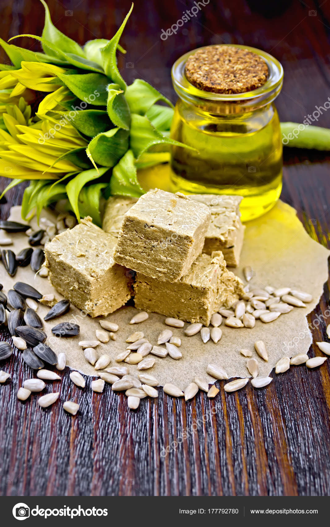 Halva On Paper With Seeds And Oil Stock Photo Rezkrr 177792780