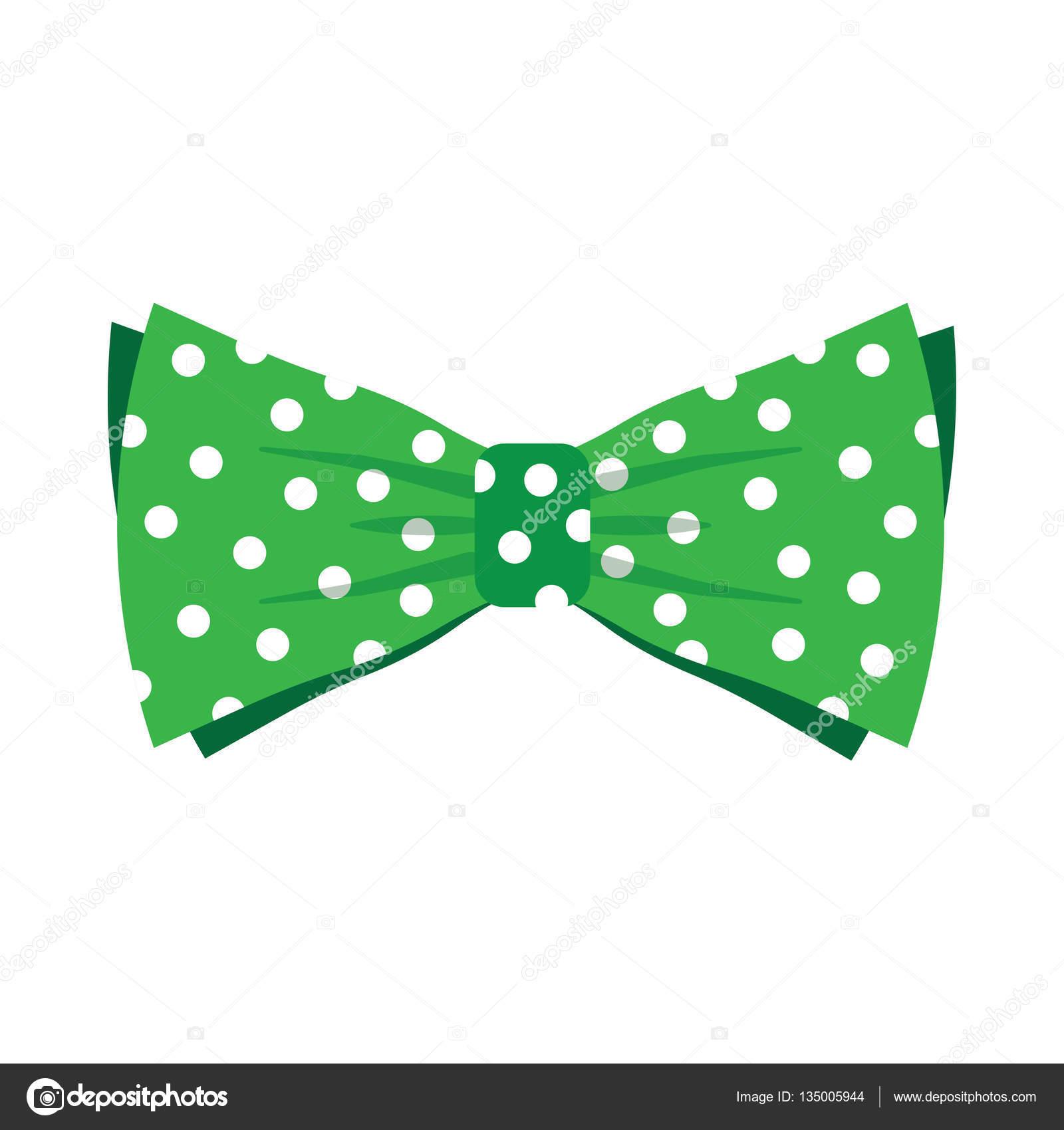 Elegante corbata de lazo verde con topos blancos — Archivo Imágenes ...