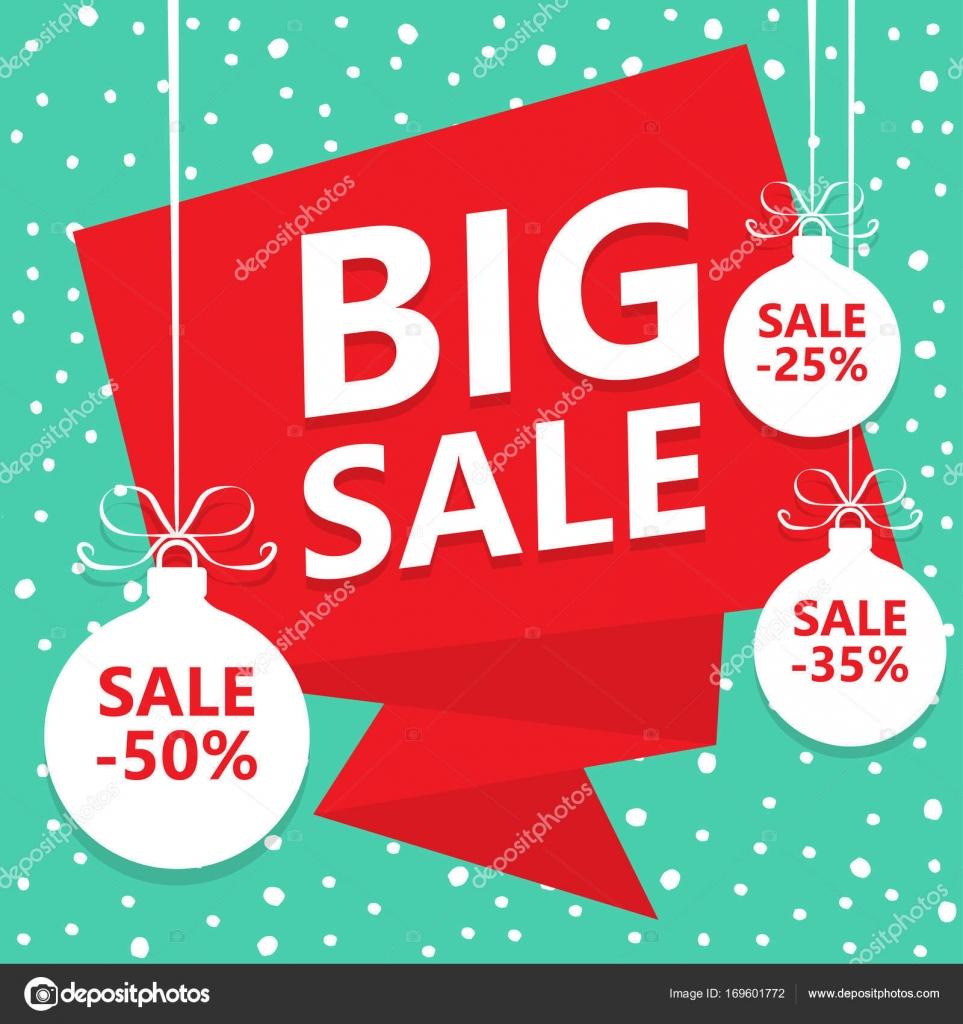 Großer Weihnachtsverkauf. Winter Sale poster — Stockvektor © Makc76 ...
