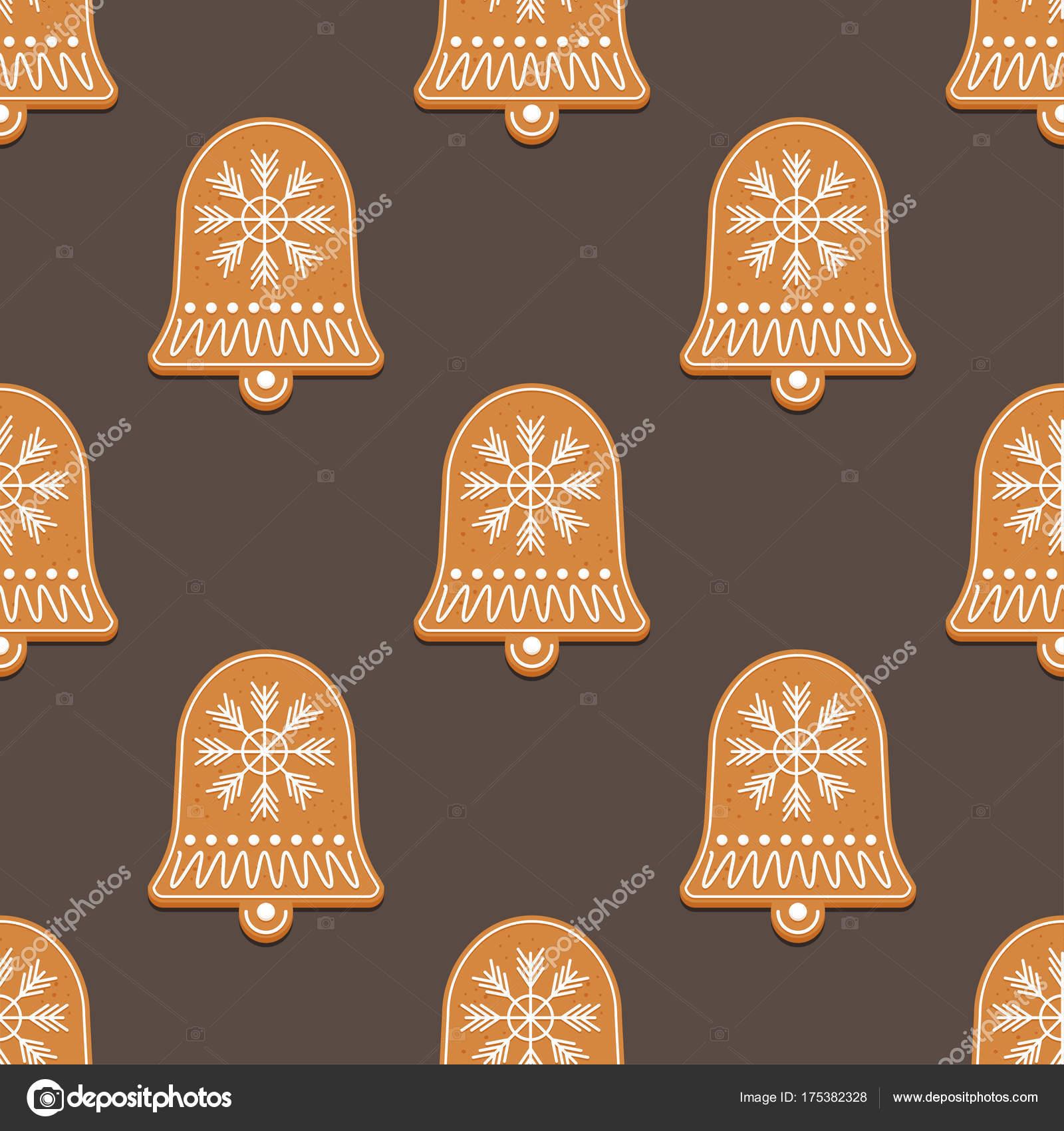 Patrón sin fisuras con la campana de pan de jengibre — Archivo ...