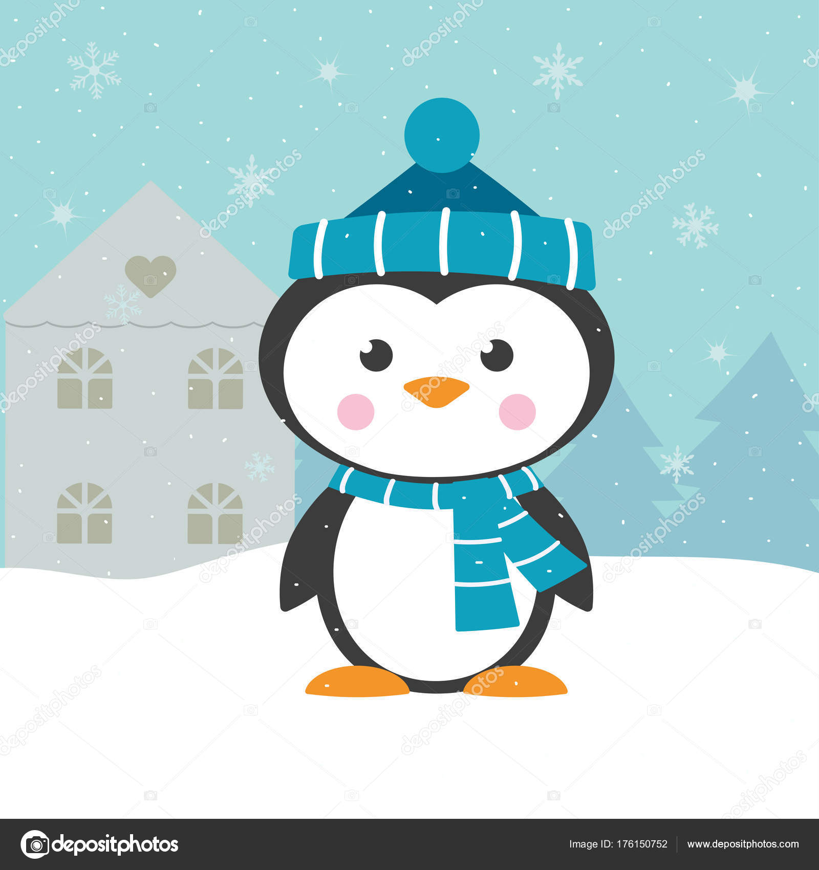 8c0d95985115cb Cartoon penguin isolated on winter background, christmas card with  snowflakes, snow, house, fir trees and cute animal in a hat and scarves —  Vector by ...