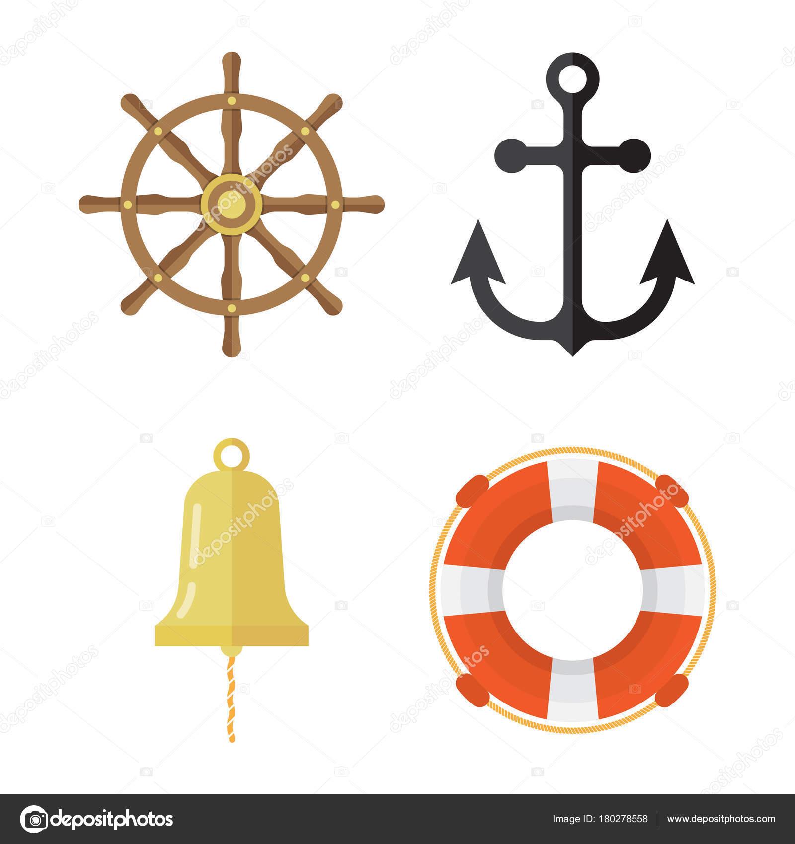 Nautical Icons Set Lifebuoy Anchor Steering Wheel Ship Bell