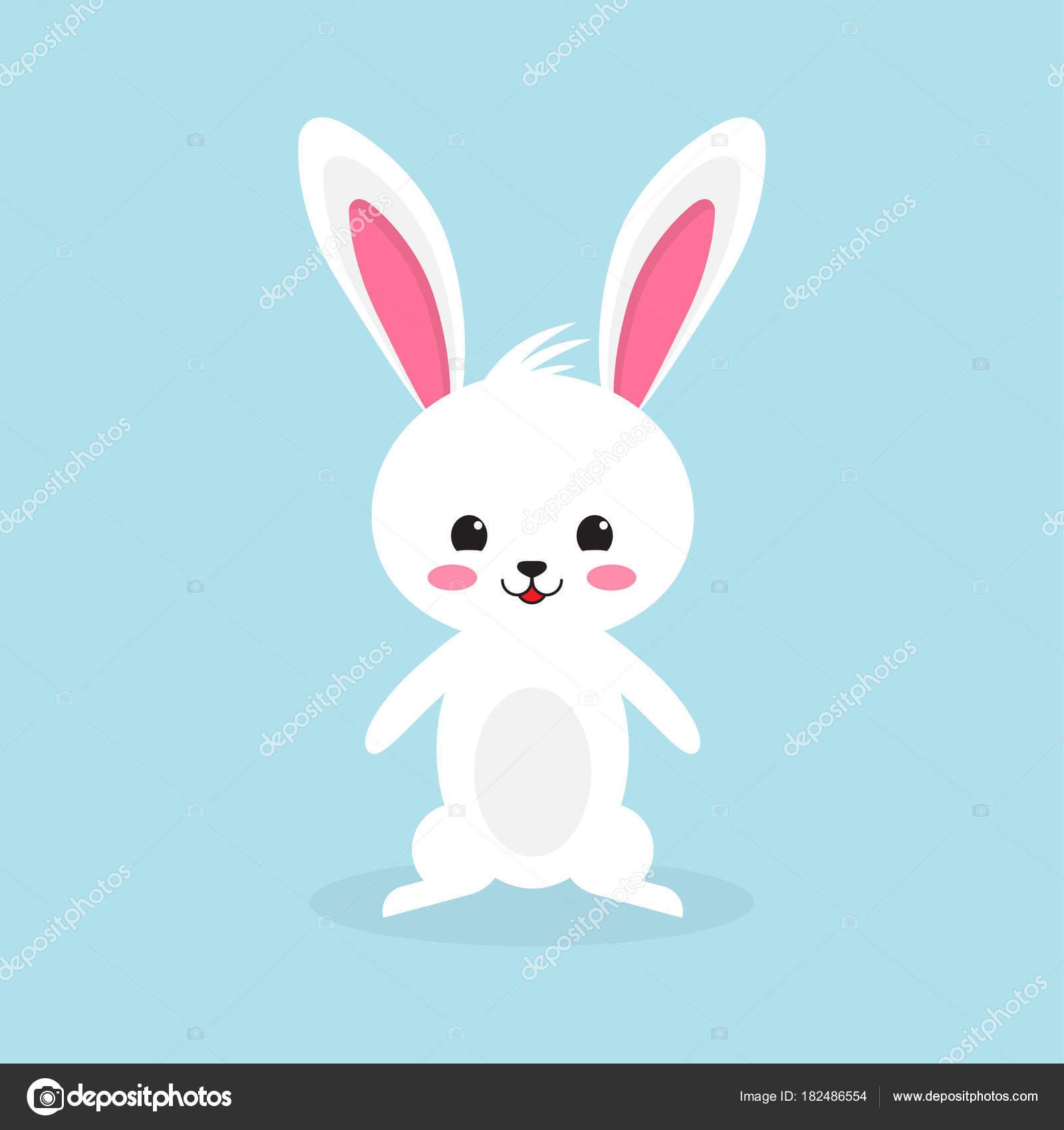 Happy Easter rabbit, white cute Bunny — Stock Vector ...