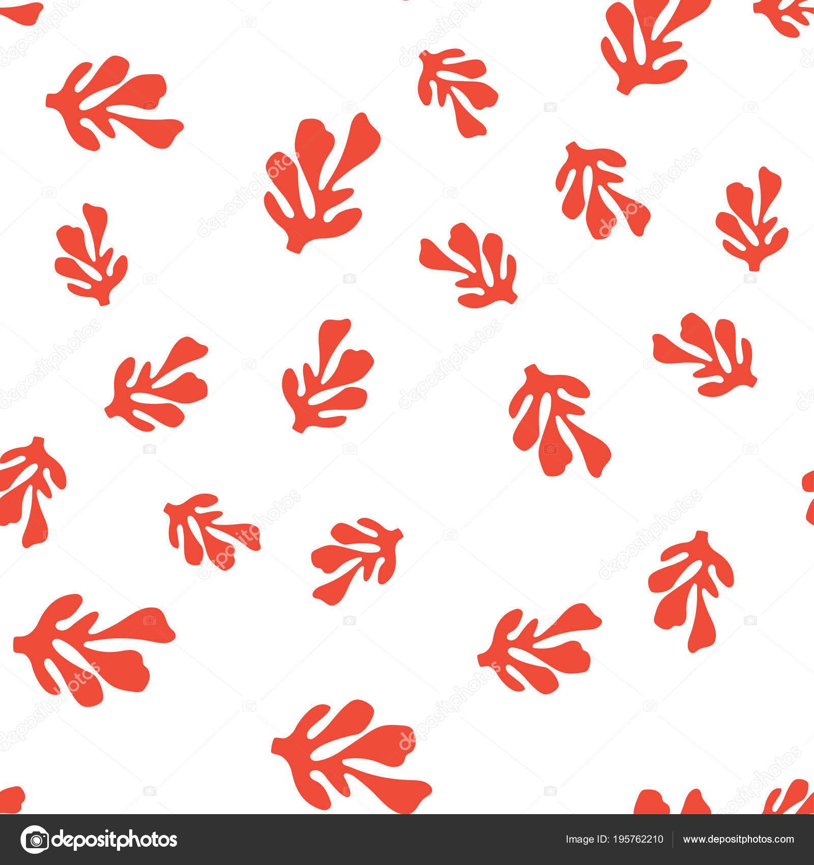 Vzorek Cervenymi Koraly Tapety Kreslenymi Morske Rostliny Pozadi