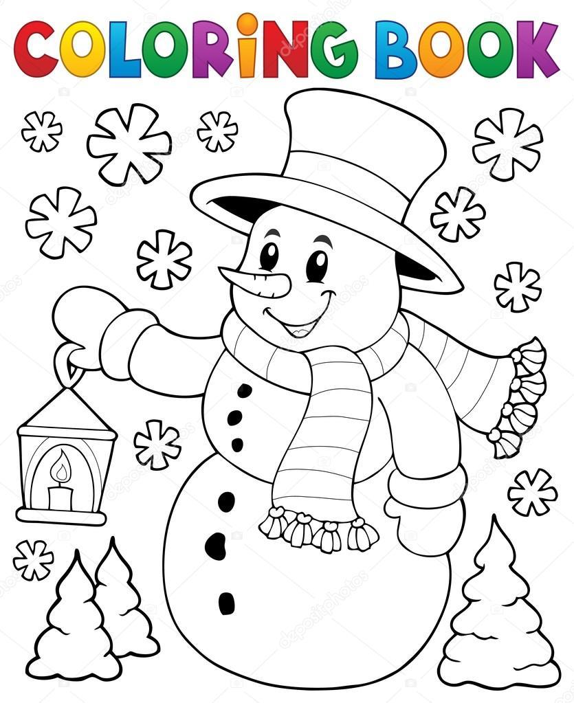 Tema de muñeco de nieve de libro para colorear 2 — Vector de stock ...