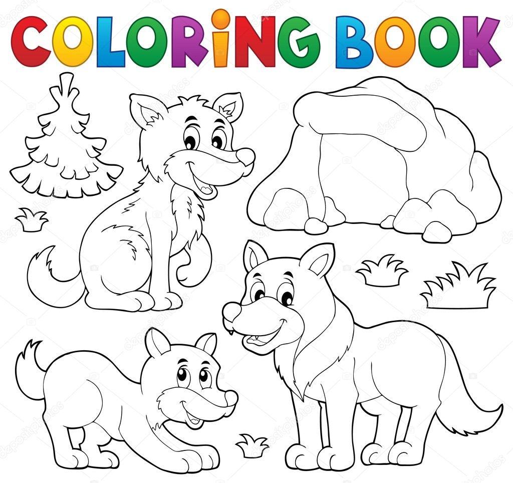 Libro para colorear con tema lobos 1 — Archivo Imágenes Vectoriales ...