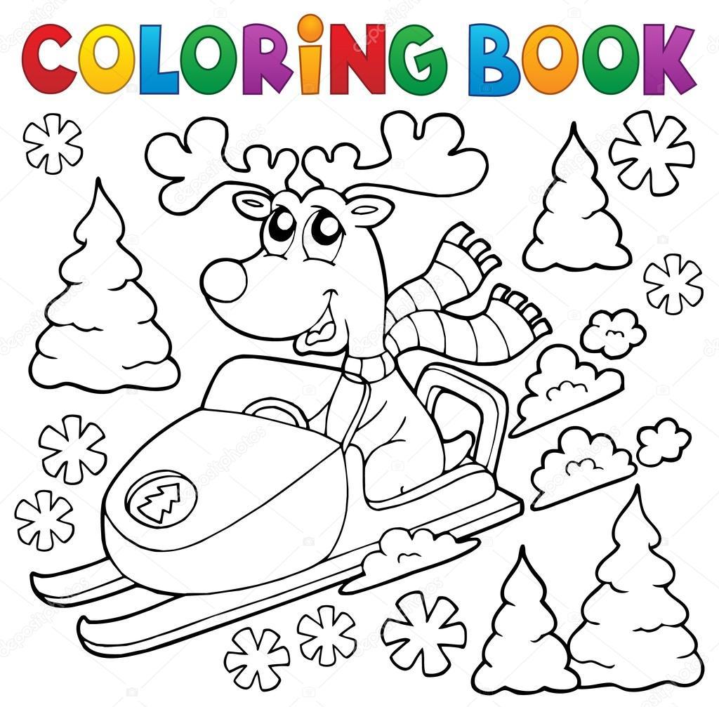 Reno de libro para colorear en moto de nieve — Archivo Imágenes ...