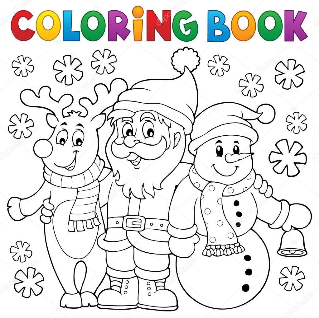 Personajes de Navidad para colorear libro — Vector de stock ...