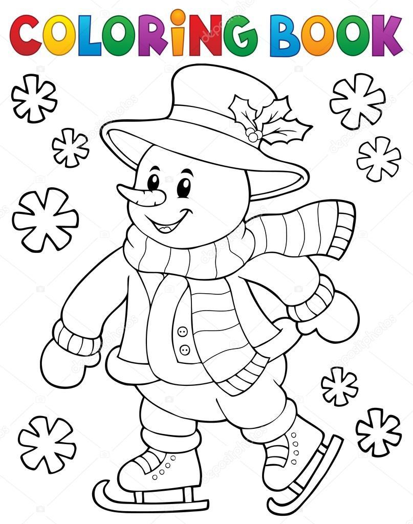Libro para colorear tema de muñeco de nieve 1 de patinaje — Archivo ...