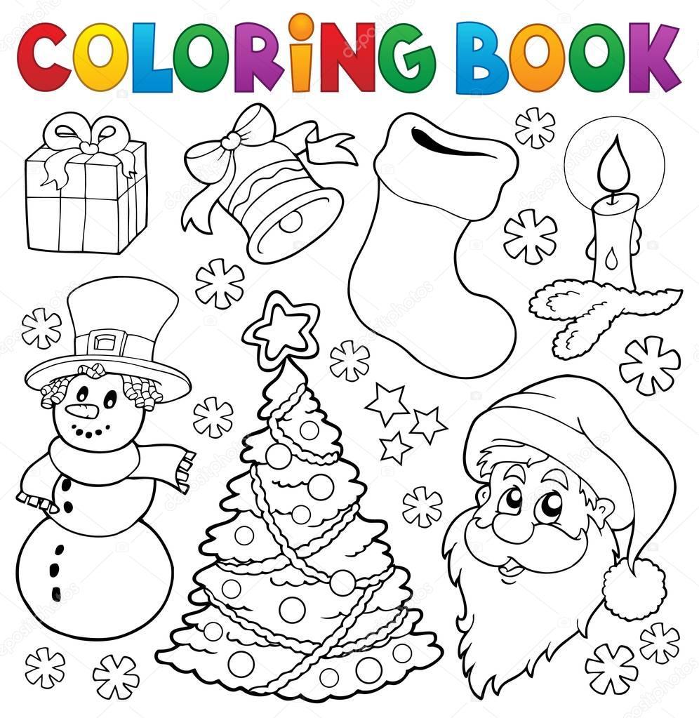 색칠 공부 크리스마스 Thematics 5 스톡 벡터 Clairev