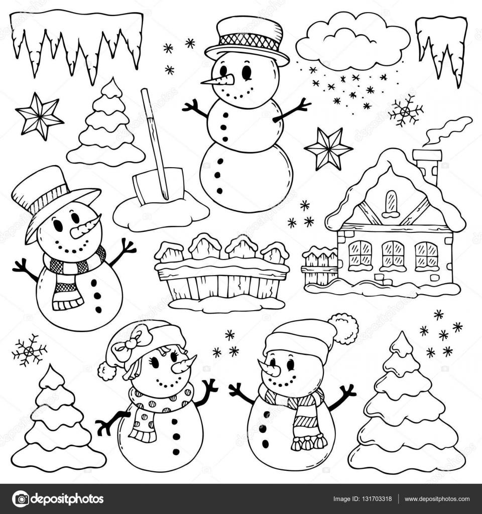 Dibujos de temática de invierno 2 — Archivo Imágenes Vectoriales ...