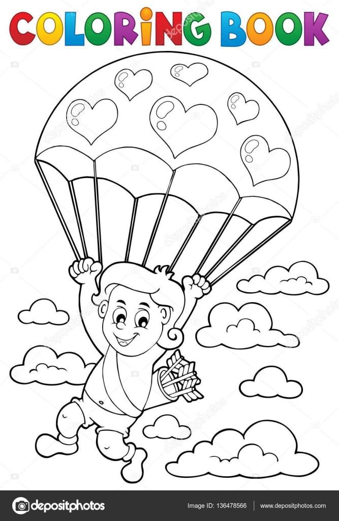 Libro de colorear de Cupido con paracaídas — Vector de stock ...