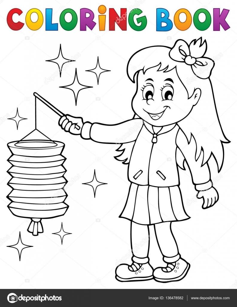 Chica de libro para colorear con linterna de papel — Vector de stock ...