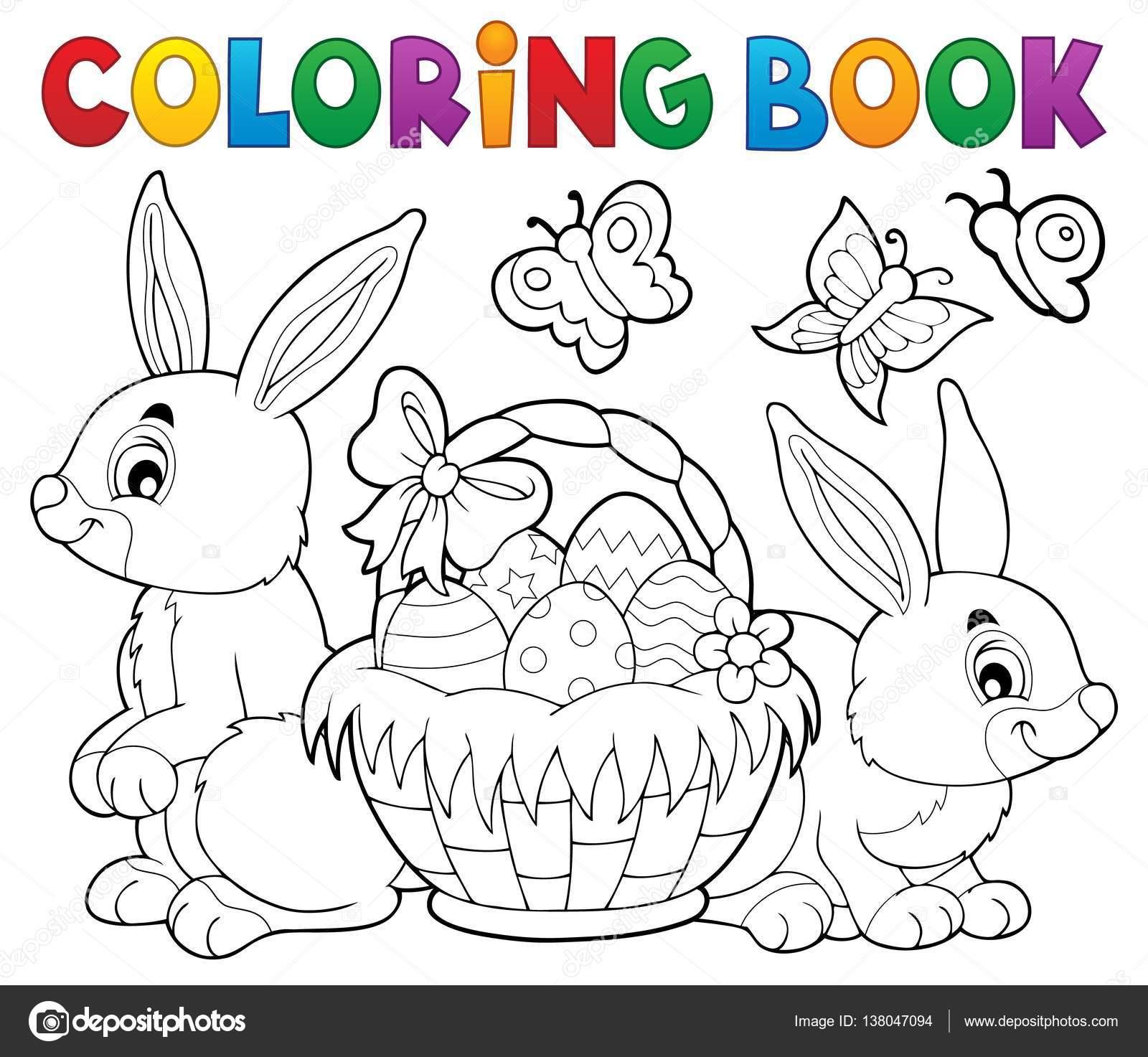 Conejo y canasta de Pascua para colorear libro — Vector de stock ...