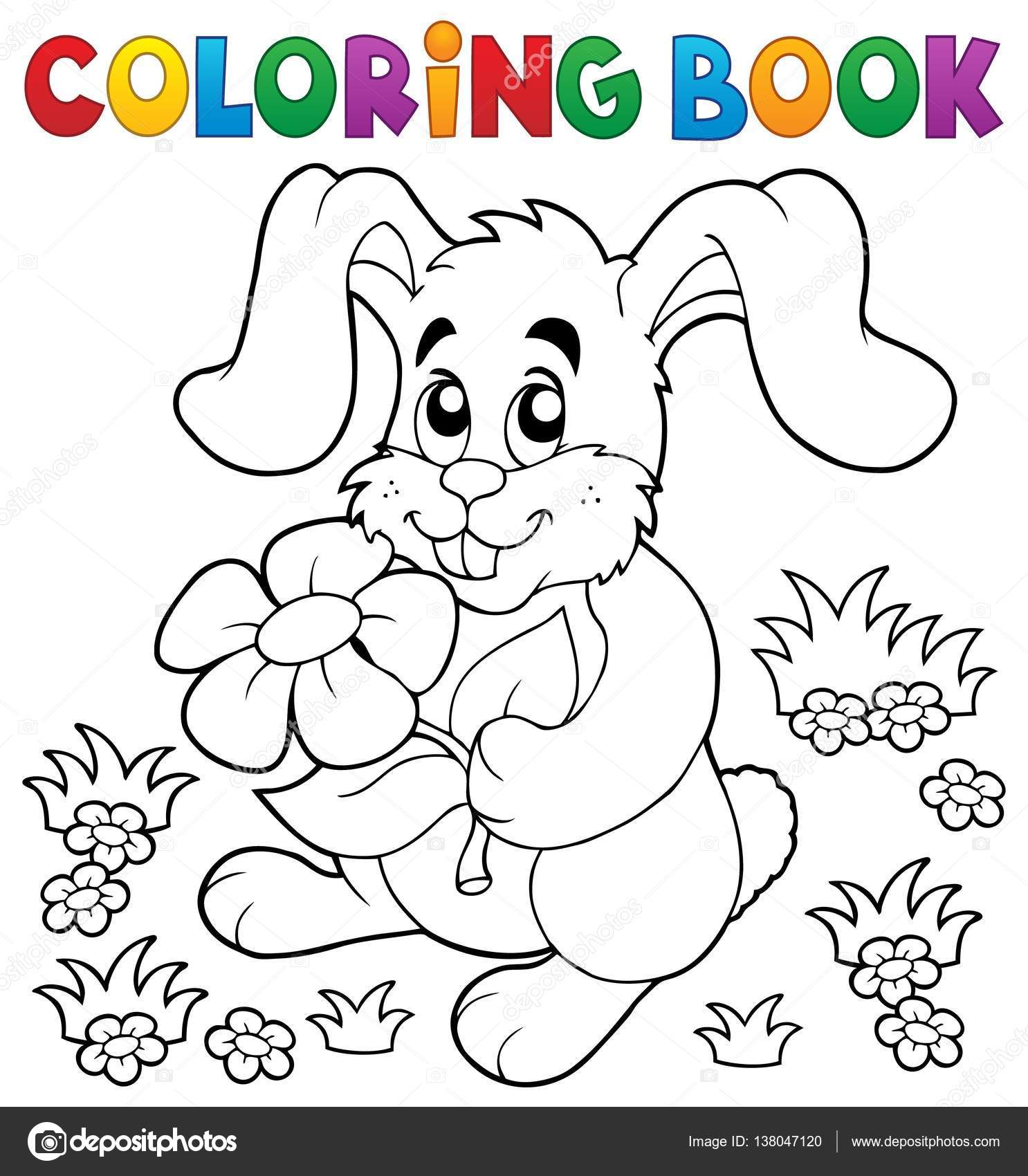coloring book easter rabbit theme 3 eps10 vector illustration vector by clairev
