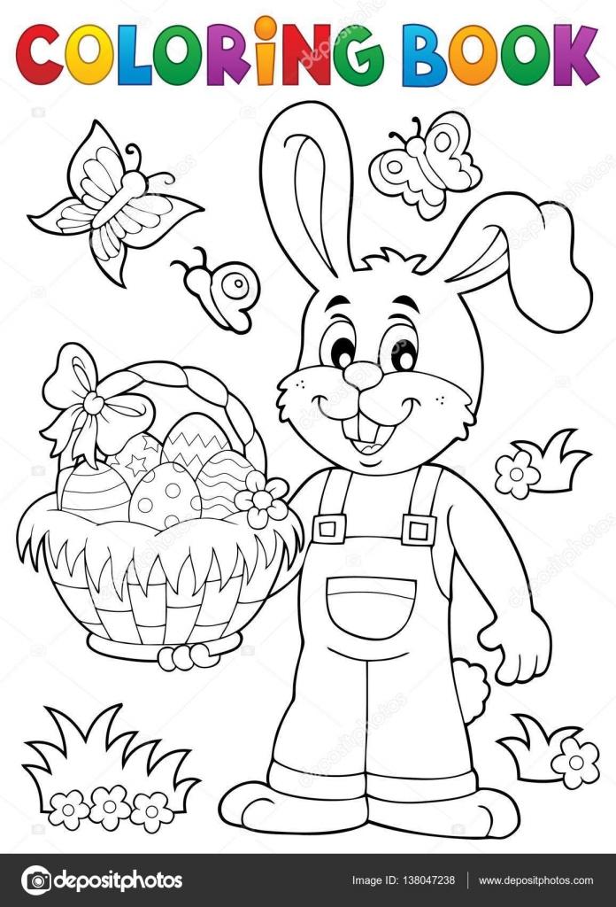 Para colorear tema de conejo de Pascua libro 7 — Vector de stock ...