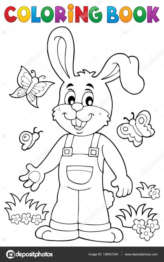 - Coloring Book Easter Rabbit Theme 6 — Stock Vector © Clairev #138047240