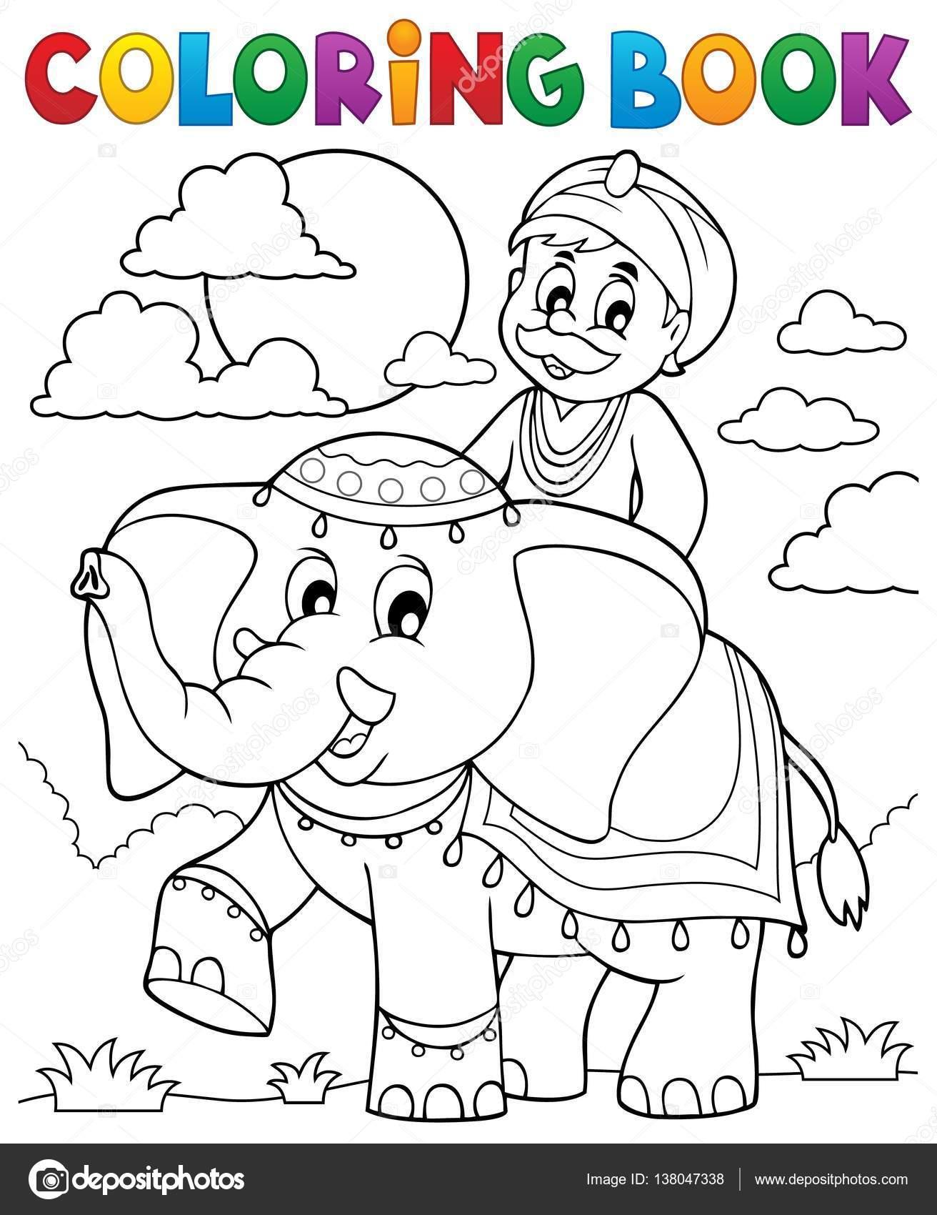 Раскраска книги человек, поездки на слонах — Векторное ...