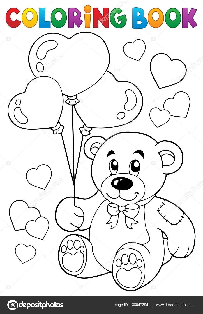 Libro para colorear tema de San Valentín 7 — Vector de stock ...