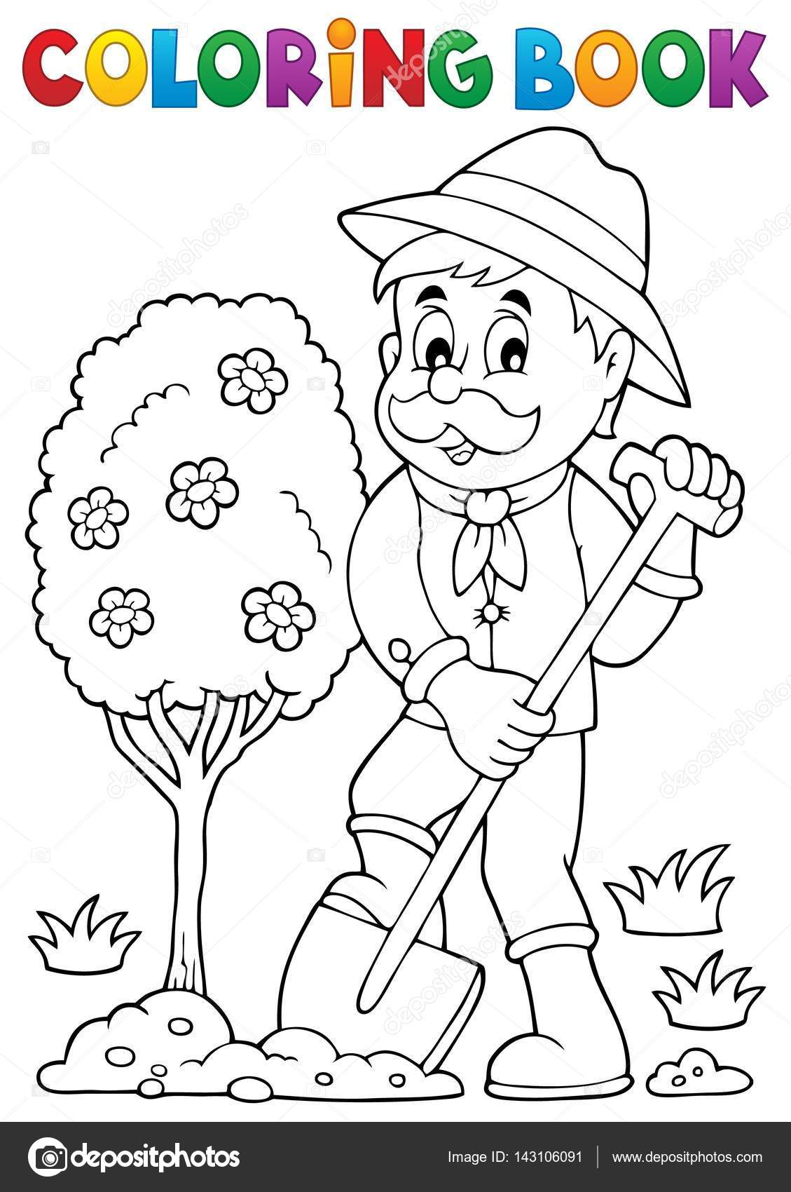 coloring book gardener planting tree u2014 stock vector clairev