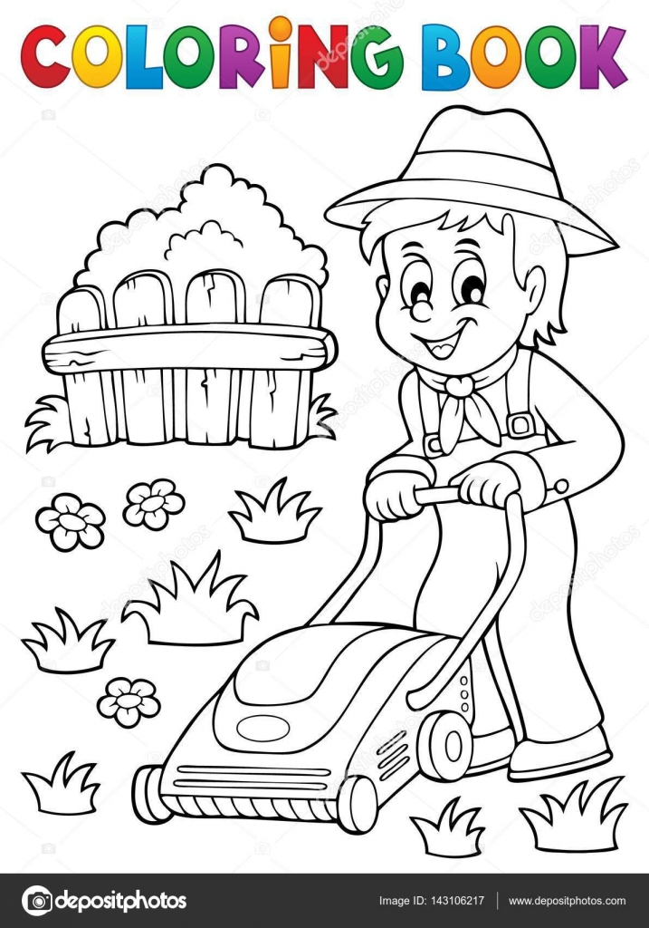 Coloring book gardener with lawn mower — Stock Vector © clairev ...