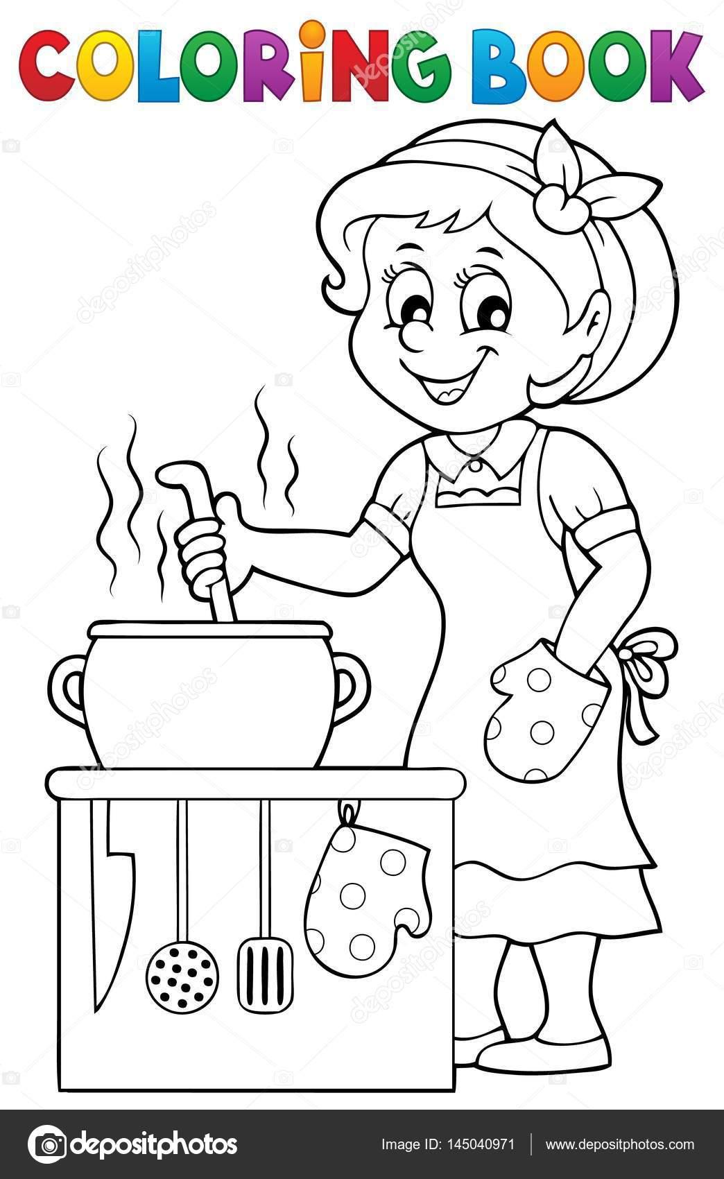 Boyama Kitabı Mutlu Kadın Aşçı Stok Vektör Clairev 145040971