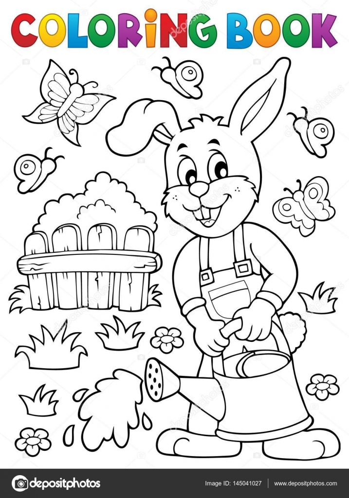 Coloring book rabbit gardener theme 2 Stock Vector clairev
