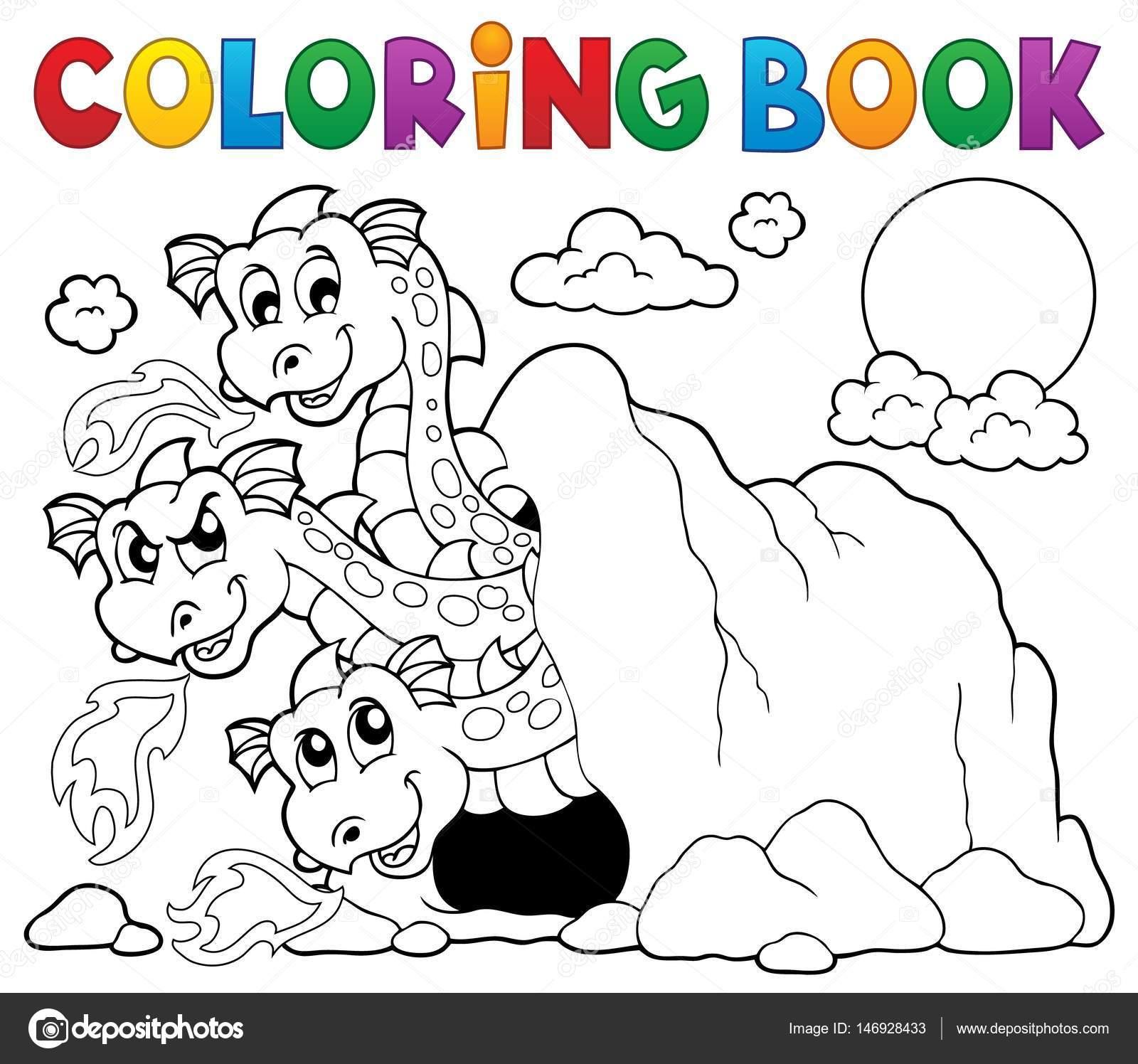 Coloring book dragon theme image 5 — Stock Vector © clairev #146928433