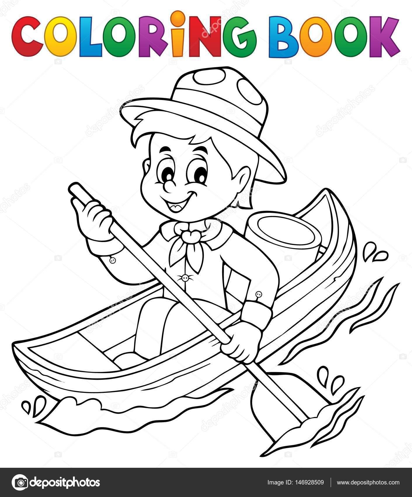 Kleurplaten Thema Water.Kleurplaat Boek Water Scout Jongen Thema 1 Stockvector C Clairev