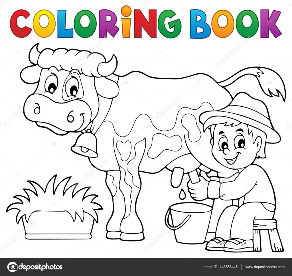 Colorear granjero libro ordeñar vaca — Archivo Imágenes Vectoriales ...