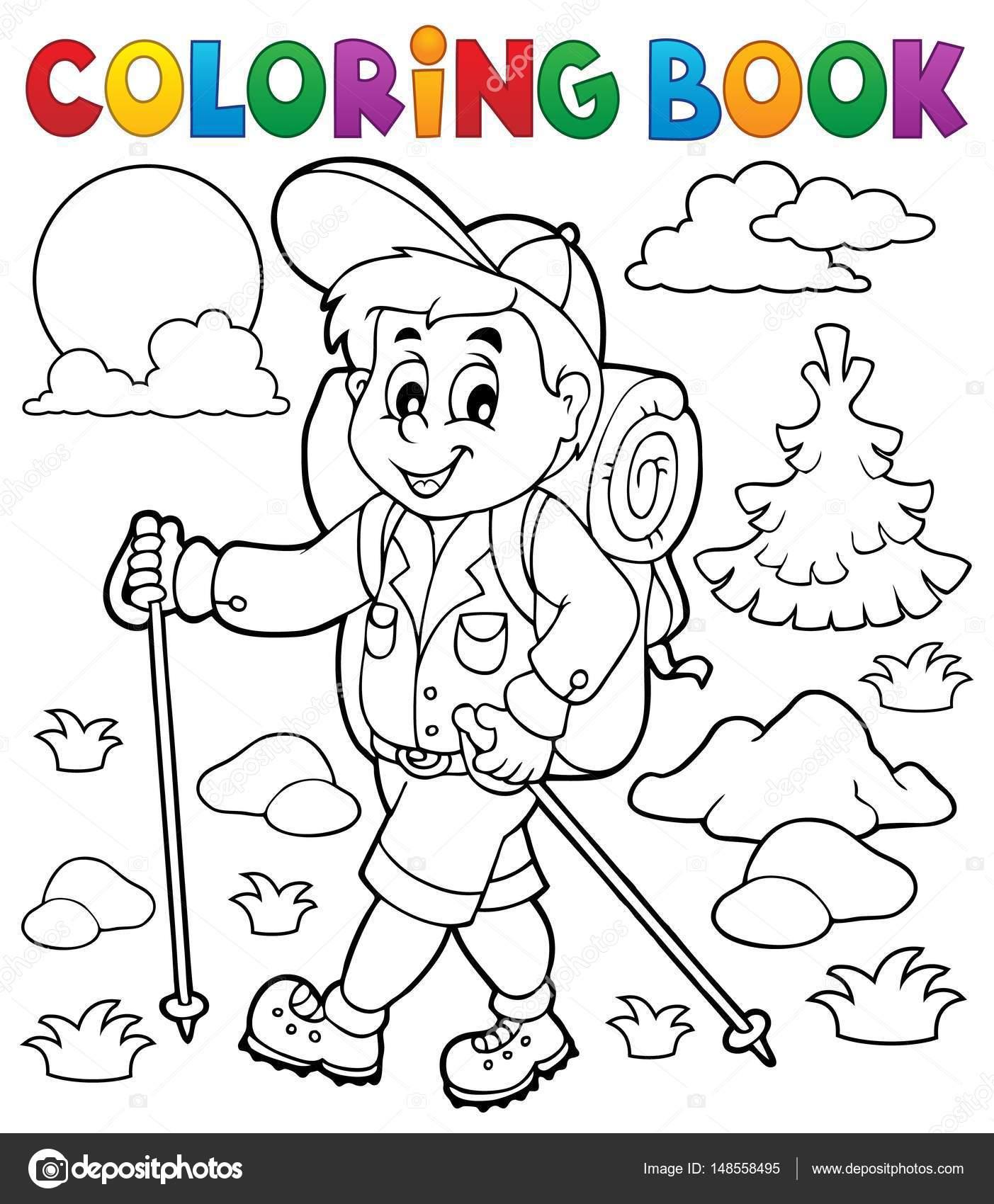 Excursionista de libro para colorear al aire libre — Archivo ...
