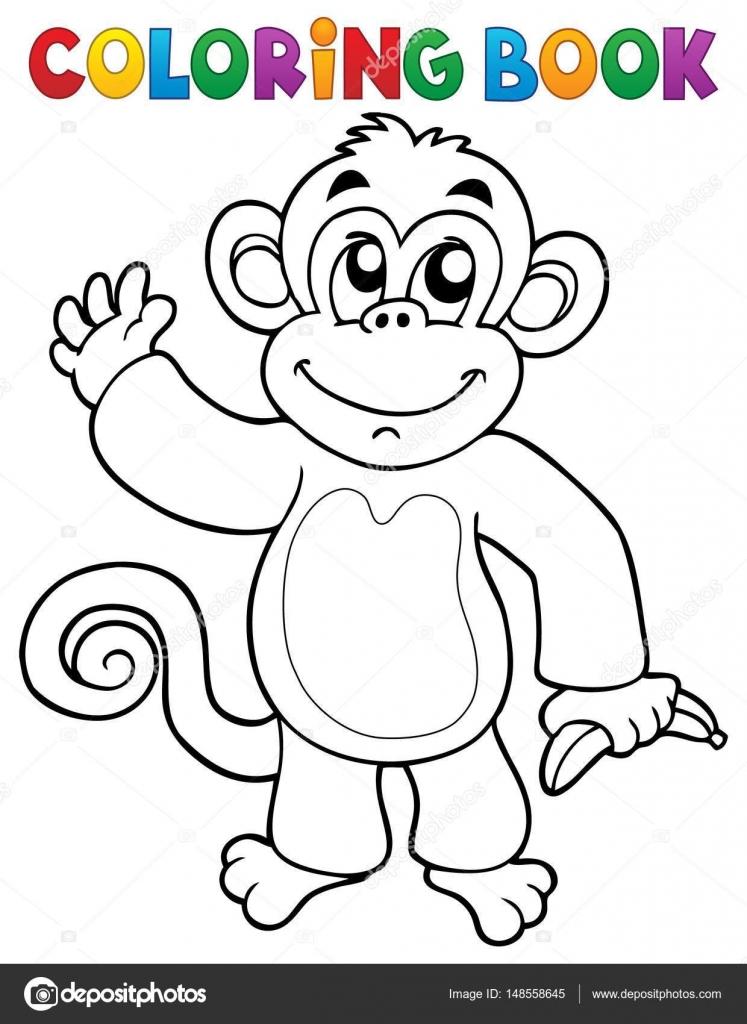 Boyama Kitabı Maymun Tema 3 Stok Vektör Clairev 148558645