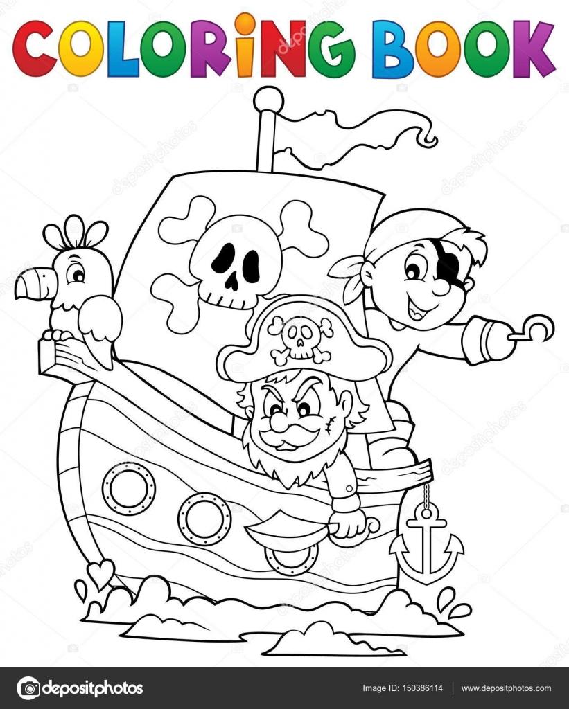 kleurplaat boek piraat boot thema 1 stockvector