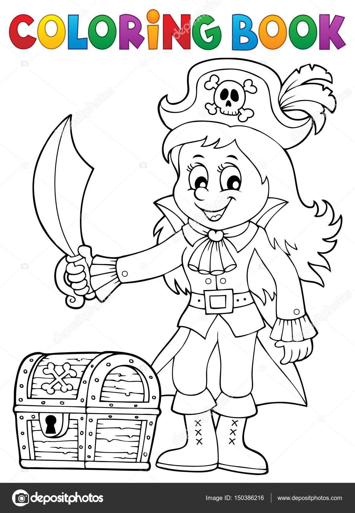 Malvorlagen Piraten Mädchen Buchthema 1 — Stockvektor © clairev ...